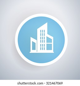 Condo icon on blue button background, clean vector