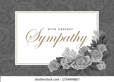 Condolences grayscale rose bouquets with white frame and golden text on a dark background. Save the date, sympathy, condolences or strict style postcard vector template