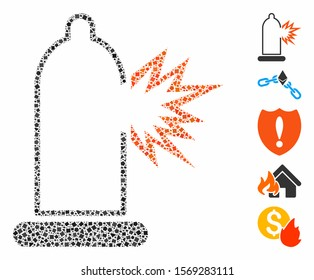 Condom damage icon composition of humpy items in different sizes and shades, based on condom damage icon. Vector humpy elements are united into mosaic. Condom damage icons collage with dotted pattern.
