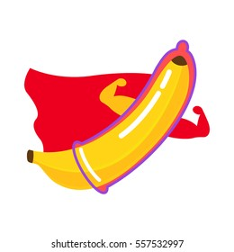 The condom is dressed on a banana. superhero character. flat vector illustration isolate on a white background in cartoon style. easy to use