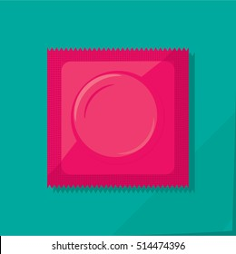 Condom Plastic Package with Obvious Circle Product Shape and Toothed Edge - Pink Objects on Turquoise Natural Paper Effect Background - Realistic Flat Design
