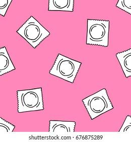 condom seamless doodle pattern