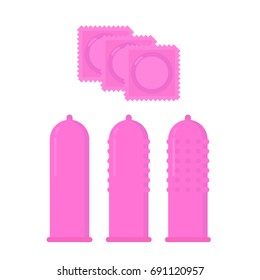 Condom set pink. Contraceptive difference. Condom pack Safe sex. Protection sex