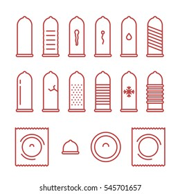 Condom Types Minimal Flat Line Outline Stroke Icon Pictogram Symbol Set Collection