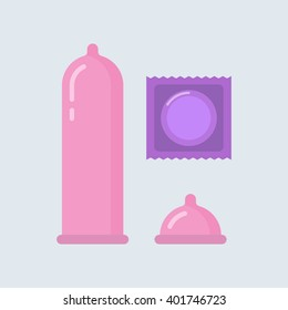 Condom vector illustration. Contraceptive method. Condom wrapper, pack in flat style. Safe sex. Caution against pregnancy. Protection from sexually transmitted diseases.