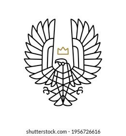 condor bird of prey king crown monoline logo vector icon illustration