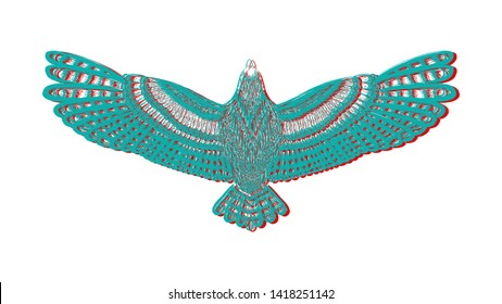 The condor with chromatic aberration. Colorful flying eafle for colorful tattoo art. Flight of falcon. Detailed hand drawn dove for tattoo on back. Glitch. The sketch on the white background.