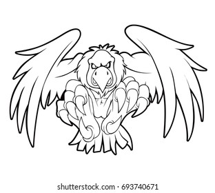 Condor Vulture Bird Vector Line Art