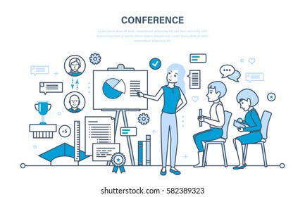 Conducting business conferences, studies and statistical analysis of the financial performance indicators reports. Illustration thin line design of vector doodles, infographics elements.
