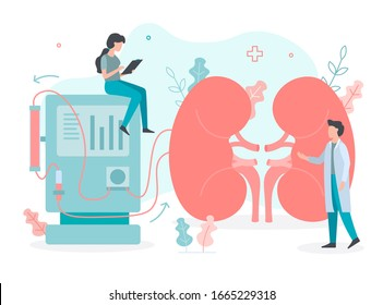 Conducting a dialysis procedure. Cleaning and transfusion of blood. Medical concept with tiny people. Flat vector illustration.