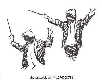 Conductor ensemble hand drawn, sketch vector illustration isolated on white background.
