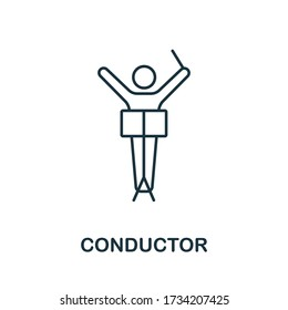 Conductor icon from music collection. Simple line Conductor icon for templates, web design and infographics