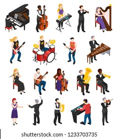 Conductor singer and musicians with stringed wind bowed and percussion instruments isometric people isolated vector illustration