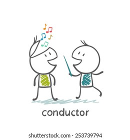 conductor with a stick controls the notes in the head of another person, illustrator