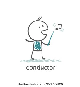 conductor with a stick and a note, illustrator