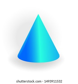 Cone - One 3D geometric shape with holographic gradient isolated on white background, figures, polygon primitives, maths and geometry, for abstract art or logo, vector illustration