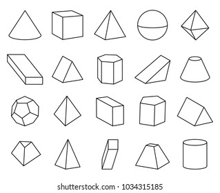 Cone and pyramid shapes set, poster and collection of geometric shapes, hexagonal prism and complex elements, vector illustration isolated on white