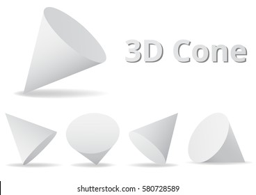 Cone shape various angle color white and gray 3D style.