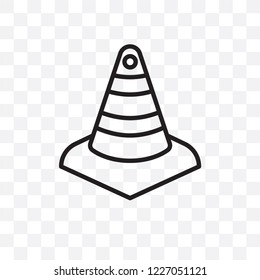 Cone vector linear icon isolated on transparent background, Cone transparency concept can be used for web and mobile