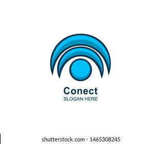 Conect logo design vector illustration template, wifi logo flat logo design