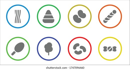 confection icon set. 8 filled confection icons. Included Liquorice, Cotton candy, Candy corn, Jelly beans, Stick candy, shop icons