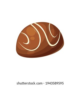 Confectionery food product isolated sweet glossy candy with white sugar lines. Vector homemade confection, yummy holiday treat, realistic food dessert. Single candy of cocoa, ganache choco filling