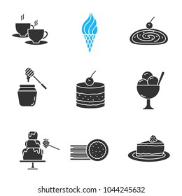 Confectionery glyph icons set. Silhouette symbols. Hot drink, ice cream, strudel, honey jar, tiramisu, chocolate fountain, sandwich cookies, cheesecake. Vector isolated illustration