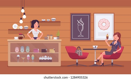 Confectionery store, shop with sweet assortment and shop visitor. Smiling female seller at display window, woman buyer enjoys dessert at table, cafe interior. Small business idea. Vector illustration