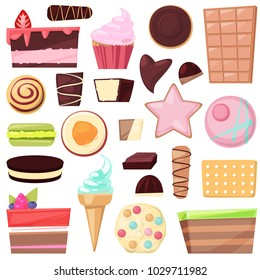 Confectionery sweets vector chocolate candies and sweet confection dessert in candyshop illustration of confected cake or cupcake with choco cream set isolated on white background