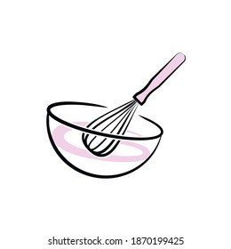 Confectionery tools. Vector illustration. Logo for the pastry chef. Pastry whisk and bowl.
