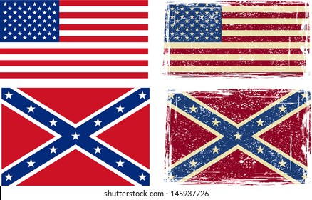 Confederate and American flags. Vector illustration