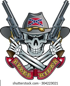 confederate civil war skull with crossed guns and banner