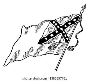 Confederate National Flag - No. 2, this flag  has dark saltire with white outline on top right corner, 13 stars inside the saltire, vintage line drawing or engraving illustration