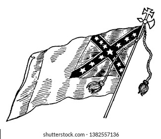 Confederate National Flag - No. 3, this flag  has dark saltire with white outline on top right corner, 13 stars inside the saltire, vintage line drawing or engraving illustration