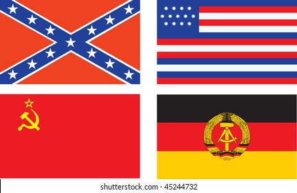 Confederate, old USA, USSR, and GDR flag