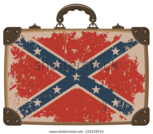 Confederate Rebel flag Grunge on an old suitcase