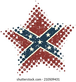 Confederate star with grunge and halftone effects