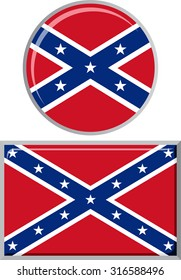Confederate States of America round and square icon flag. Vector illustration Eps 8.