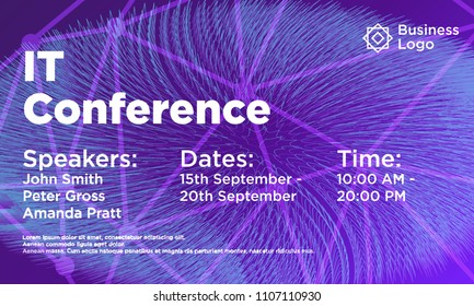IT conference abstract background template. Conference flyer layout. Minimal geometric design. Gradient colors. Futuristic Design.