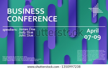 Conference Announcement Seminar Design Template Violet Stock Vector
