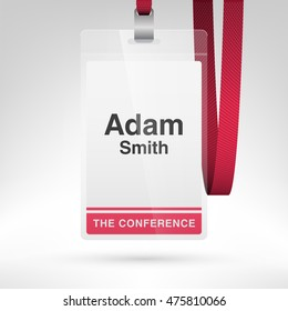 Conference badge with name tag placeholder. Blank badge template in plastic holder with lanyard. Vector illustration. Vertical layout.