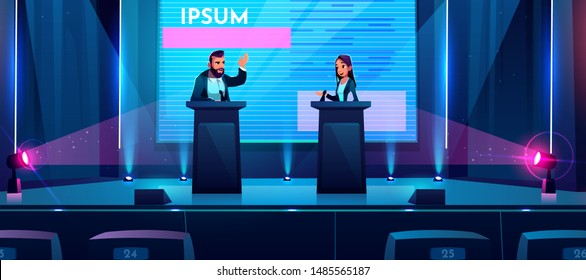 Conference debates or presentation on stage with business or politician man and woman stand at tribunes with microphones at dark scene with spotlights and huge screen. Cartoon vector illustration