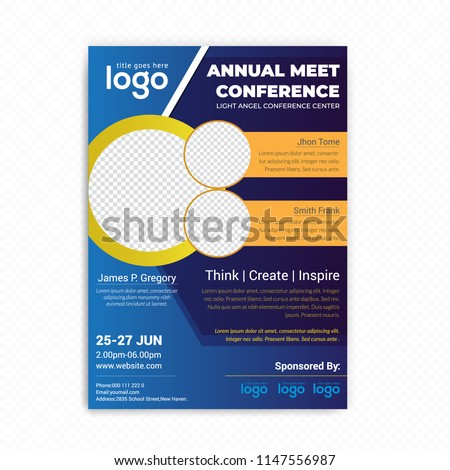 conference flyer design template women leadership stock vector