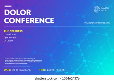 Conference flyer layout. Minimal geometric design. Eps10 vector.