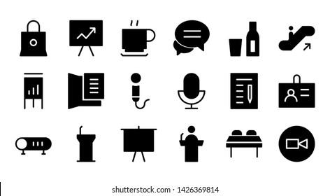 conference glyph icon symbol set