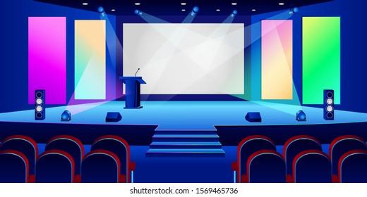 Conference hall interior. Empty white presentation screen in dark auditorium. Vector illustration. Seminar, business training or entertainment concept.