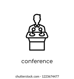 Conference icon. Trendy modern flat linear vector Conference icon on white background from thin line Business and analytics collection, editable outline stroke vector illustration
