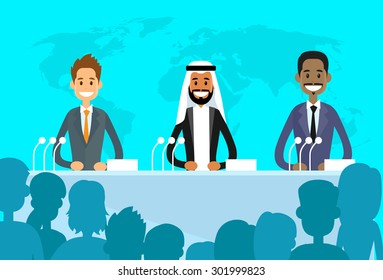 Conference International Mix Race Ethnic Leaders President, People Group Meeting Flat Vector Illustration