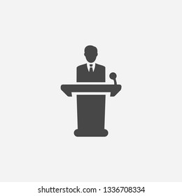 Conference lecturer icon concept. Man giving business speech icon. Person giving public speech with microphone vector illustration.