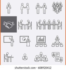 Conference Meeting Icons set. Group People Thin Icons. Team work and human resource management. Vector pictogram